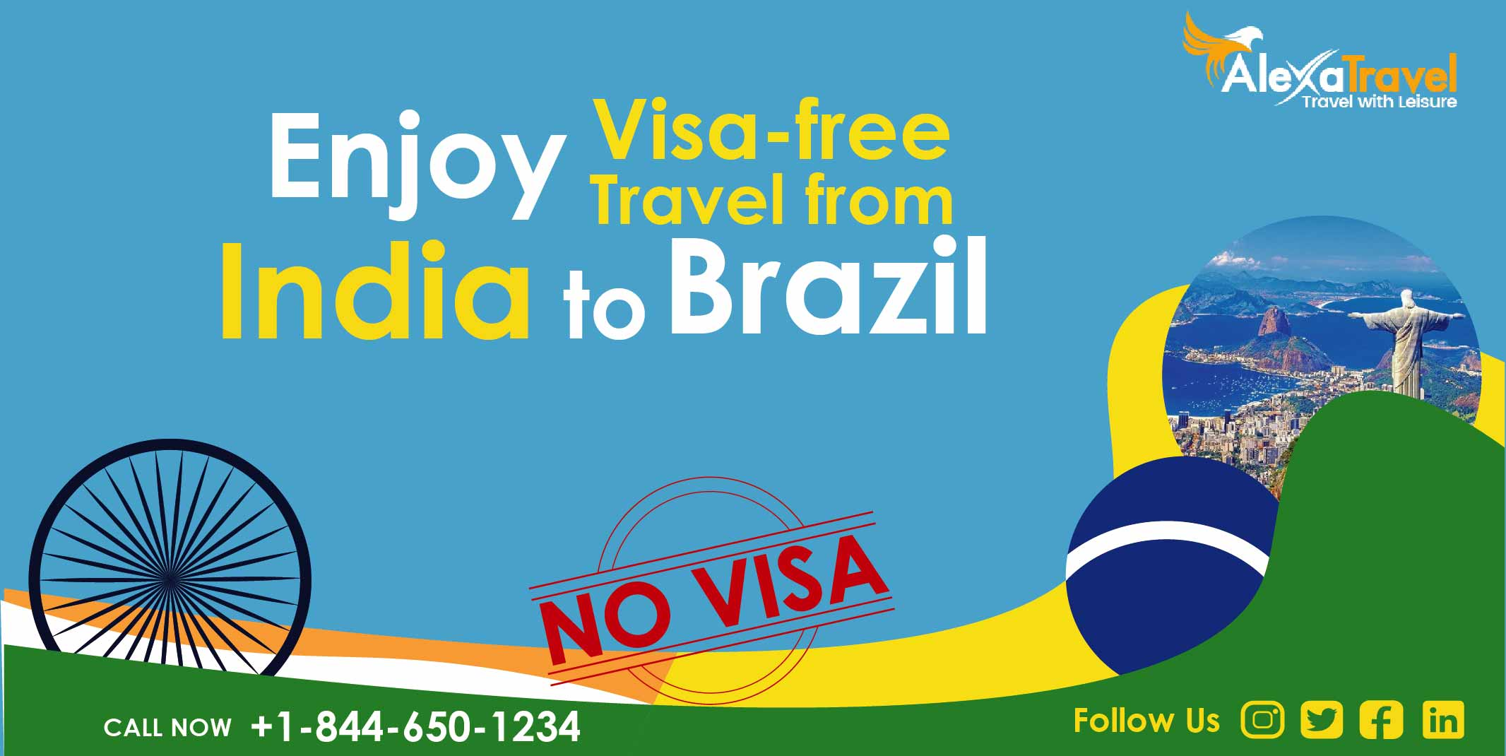 visa free travel from india to brazil